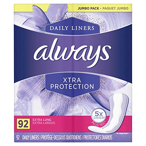 Always Xtra Protection Dailies Feminine Panty Liners for Women, Extra Long, Unscented, 92 Count - Pack of 4 (368 Count Total)