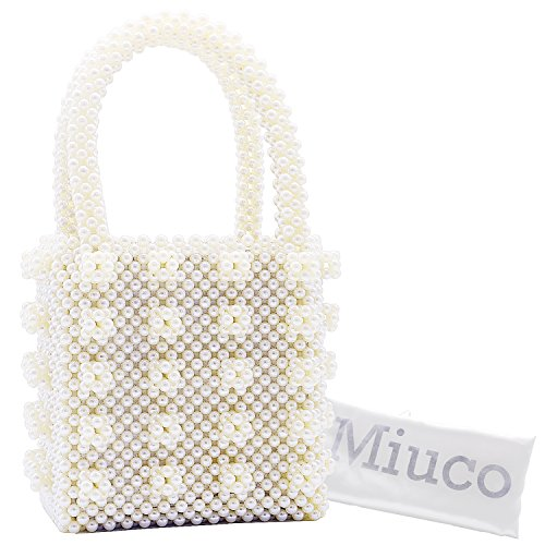 Miuco Womens Beaded Handbags Handmade Weave Crystal Pearl Tote Bags (Beaded Purse Handbag Bag)