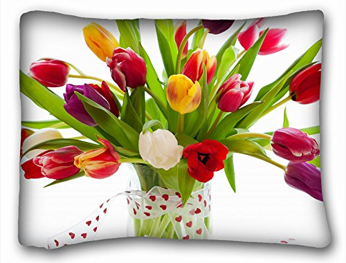 "Custom Design Standard Size Pillowcase Nature Flowers bouquet tulips vase ribbon colors still life (20""x26"" One Side)"