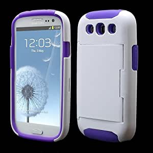 Jujeo Card Storage PC and Silicone Hybrid Case Cover for Samsung i9300 Galaxy S3 - Purple/White