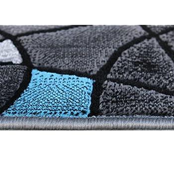 Masada Rugs, Modern Contemporary Runner Area Rug, Blue Grey Black (2 Feet X 7 Feet)