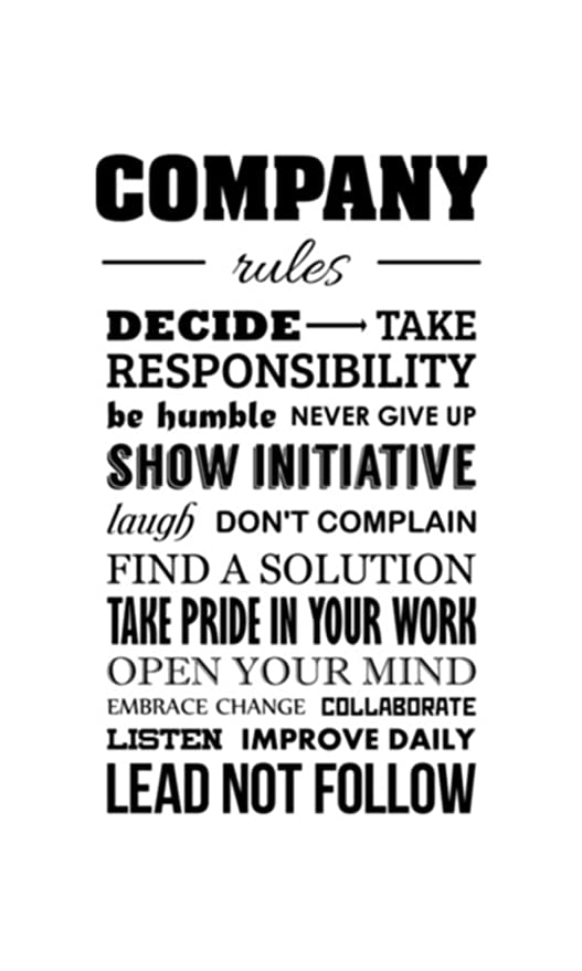Amazon com: Company Rules Wall Decal Daily Positive