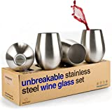 Stemless Metal Wine Glasses - Stainless Steel Tumbler Set of 4 Unbreakable Large 18 oz Shatterproof Cups for Red & White Wine, Pool Safe Metallic Outdoor Drinking Glass for Picnic, Camping, Boating