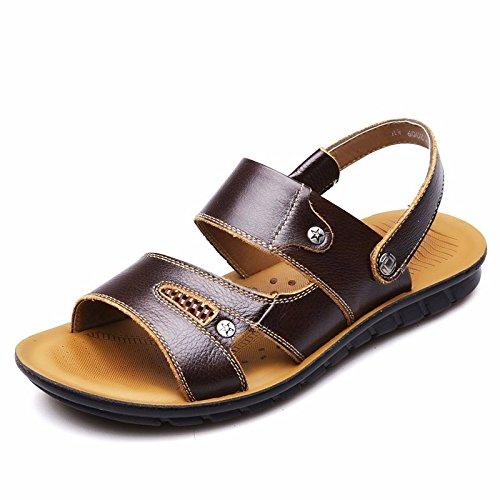 Sommer Männer Sandalen Echt Leder Strand Schuh Freizeit Schuh Männer Skin Sandalen Trend, braun, UK = 7, EU = 40 2/3