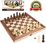 Wooden Chess Set for Kids and Adults, Travel Chess Board Folding Chess and Checkers Set Game Board Interior for Storage - 2