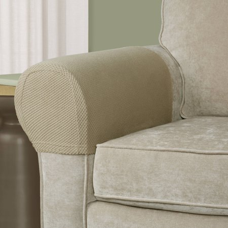 Pixel Stretch Fabric Furniture Armrest Cover, Set of 2, Tan