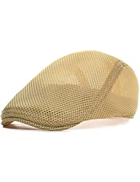 092dbaf1beee3 Men Breathable mesh Summer hat Newsboy Beret Ivy Cap Cabbie Flat Cap