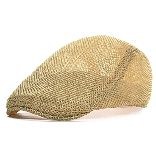 VOBOOM Men Breathable mesh Summer hat Newsboy Beret Ivy Cap Cabbie Flat Cap (Style3- - Newsboy Hat Ivy