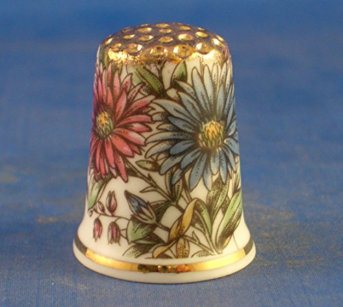Porcelain China Collectable Thimble -- Vintage Floral Daisies with Free Gift Box Birchcroft China