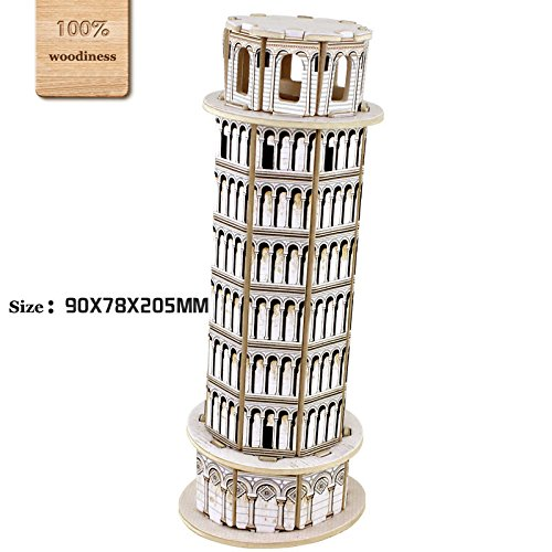 3D Diy Wooden Puzzles Leaning Tower Of Pisa Model Toy And Hobby For Kids