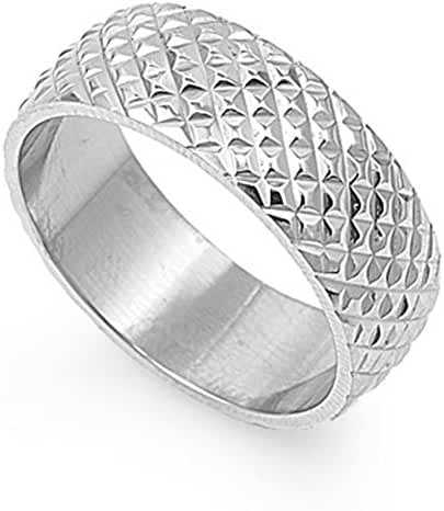 Women's Men's Diamnod Ring Stainless Steel Band New USA 8mm Sizes 5-13