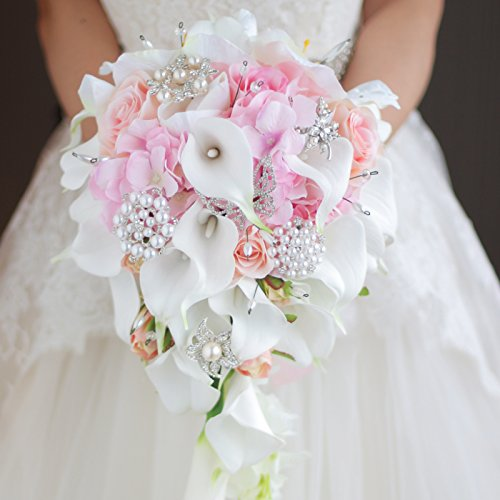 IFFO calla lilies simulation rose diamonds pearl bride wedding bouquet (pink) (Pink Lily Bouquet)