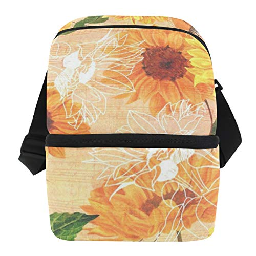 Lunch Bag Watercolor Sunflowers Summer Portable Cooler Bag Adult Leakproof Thermos Storage Zipper Tote Bags for Boating