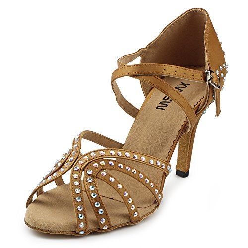 - MSMAX Rhinestones Ballroom Dance Shoes for Women Party Performance Footwear,3.3inches Heel Brown Size 12