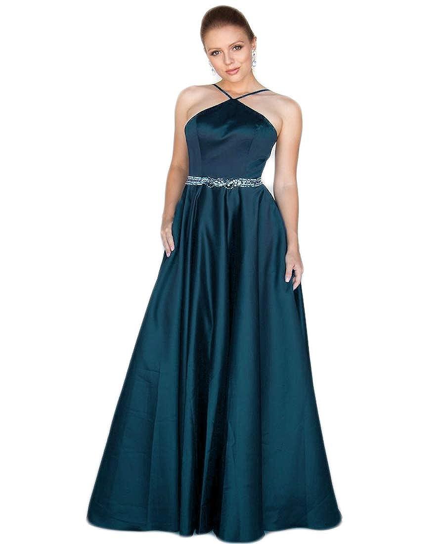 Teal liangjinsmkj Women's Halter Prom Dress Long Satin Aline Beaded Formal Evening Ball Gown with Pockets