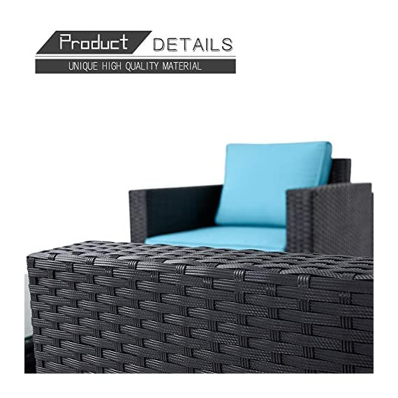 Oakmont Outdoor Patio Furniture 4-Piece Conversation Set All Weather Wicker with Sky Blue Cushion Black Coffee Table Backyard, Garden - 【WHAT YOU WILL GET】This 4-piece patio furniture set comes with 2 boxes, includes 2× single chairs, 1×loveseat, 1×table with tempered glass, 8×sky blue cushions, 2×pillows, 1× instruction, and all necessary hardware (assembly required). 【MATERIAL】The black wicker sectional sofa constructed from steel frame and PE rattan wicker. Use durable Olefin outdoor fabric, they have excellent weather resistance and corrosion resistance. 【FEATURES】Removable cushion covers with zippers are easy to rinse. Aluminum feet make the patio sofa more stable. - patio-furniture, patio, conversation-sets - 51pPuHcdF5L. SS570  -