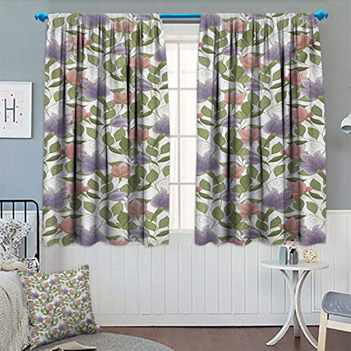 Chaneyhouse Floral Patterned Drape for Glass Door Pastel Tone Tulip Flower Aged Ottoman National Symbol Petals Image Waterproof Window Curtain 55