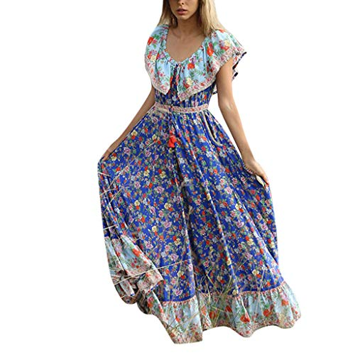 (Dresses for Women Casual Summer Maxi Sexy Bohe Ruffle V-Neck Sleeveless Floral Swing Long Beach Dress Holiday Dress Blue)