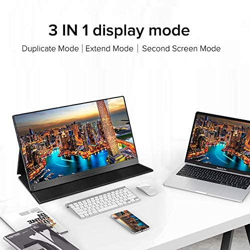 "Portable Monitor, Upgraded 15.6"" IPS HDR 1920X1080 FHD Eye Care Screen USB C Gaming Monitor, Dual Speaker Computer Display HD Type-C Mini DP OTG VESA for Laptop PC MAC Phone Xbox PS4 with Smart Case"