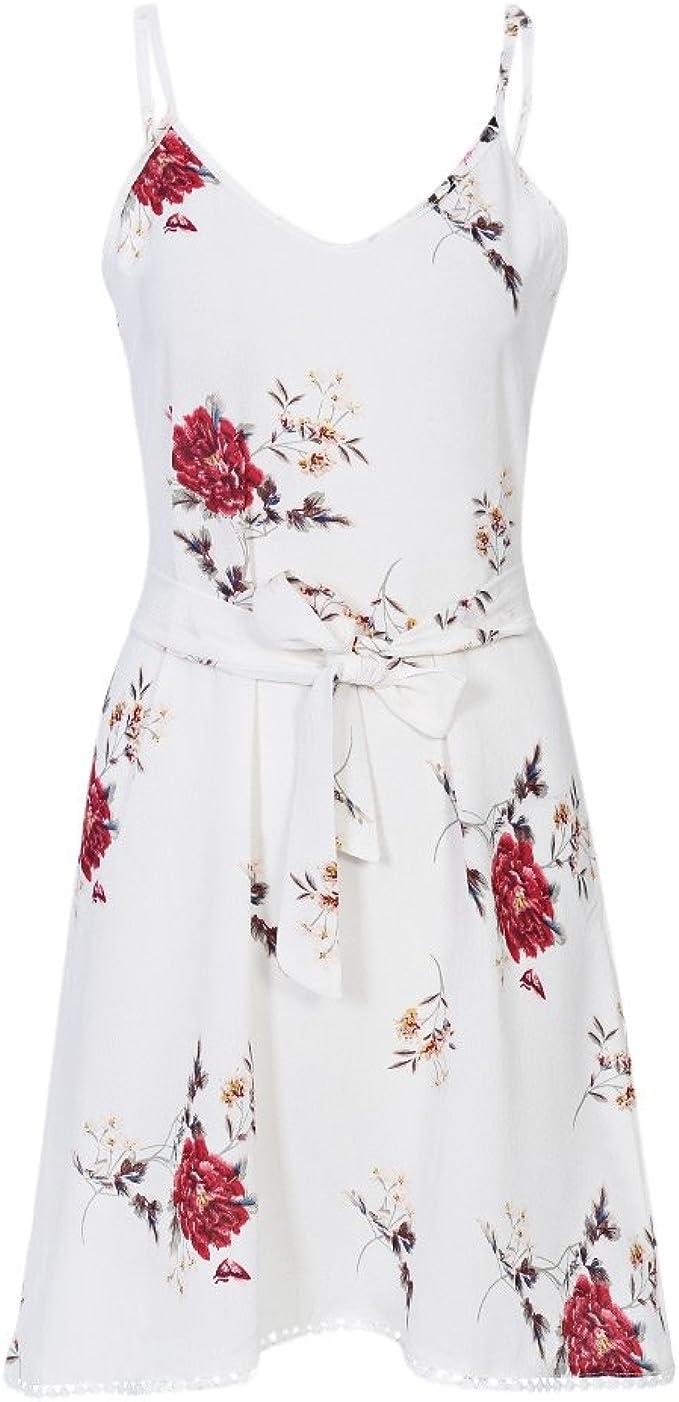 DressLily Damen Bandeau Kleid, Geblümt Gr. X-Large, weiß: Amazon