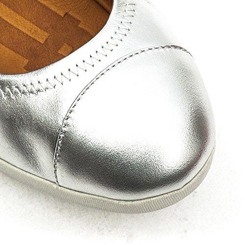 FF2 Por Fitflop Zapatos Bailarina F-pop Cuero Plateados Silver