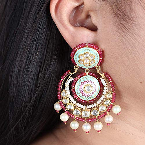 Solid 22K Yellow Gold Natural 6.3 Ct. Polki Diamond Pearl Ruby Foral Designer Kundan Meena Earrings Handmade Vintage Style Jewelry ()