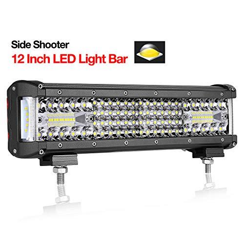 Teochew-LED 12 Inch LED Light Bar Quad Row Side Shooter Light Bar Flood Spot Combo Fog Lights Driving Lights for Truck Jeep ATV UTV 4x4 Boat, 2 Years Warranty