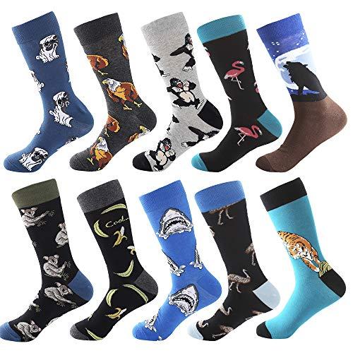 Bonangel Men's Fun Dress Socks-Colorful Funny Novelty Crew Socks Pack,Art Socks]()