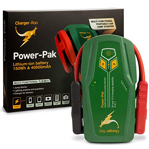 Charger-Roo 1000A Peak 40500mAh SuperSafe Car Jump Starter with USB Charge (Up to 8.0L Gas or 5.0L Diesel Engine), 12V Portable Power Pack Auto Battery Booster Phone Charger Built-in LED - Pak Starter Kits