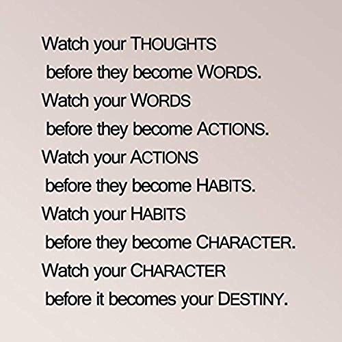 for Living Room Watch Your Thoughts Before They Become Words Actions Habits Character Before It Becomes Your Destiny for Boys Room Wall Decals Decor Vinyl Sticker Q5302