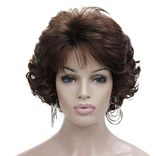 Kalyss Dark Brown Short Curly Wavy Wig with Hair Bangs 100% Imported Premium Synthetic Fashion Brown Hair Wigs for Women (Brown) -