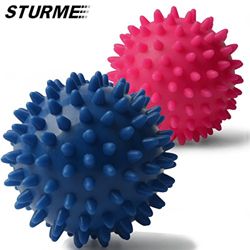 Therapeutic Ball Exercise (Massage Ball Spiky Foot Massager Back Muscle Foam Roller Body Deep Tissue Trigger Point Therapeutic Massaging Exercise Roller Yoga Balls Physical Therapy Equipment Includes Free Ebook and Holder Bag)