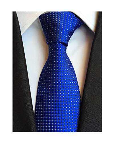 (Elfeves Mens Royal Blue Silk Cravat Ties Woven Dance Formal Neckties Gift Ideal)