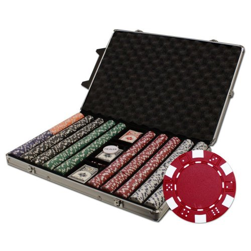Brybelly 1000-Count Striped Dice Poker Chip Set in Rolling Aluminum Case, 12.5gm