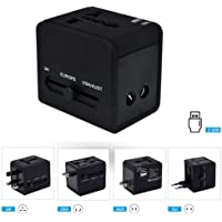 Cables Kart Universal International Travel Adapter 2 Port/USB Wall Charger Worldwide AC Outlet Plugs for Europe, UK, US, AU, Asia Black,Universal Travel Adapter fit for Over 150 Countries All in one.