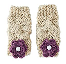 Baby Girls Light Beige & Plum Flower Knit Leg Warmers