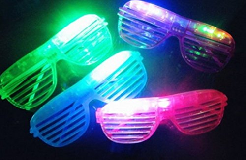 12 Piece Slotted & Shutter Shades Light Up Unisex Flashing Glasses for Adults & Children (5 Assorted Colors: White, Purple, Green, Blue, & Pink)- with Push On/Off Button for All -