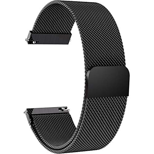 7 Colors for Quick Release Watch Strap, Fullmosa Milanese Magnetic Closure Stainless Steel Watch Band Replacement Strap for 20mm Black