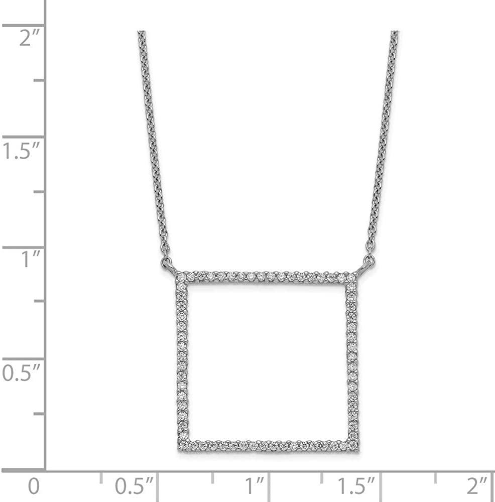 925 Sterling Silver Square CZ Cubic Zirconia Simulated Diamond Necklace 18 Inch Jewelry Gifts for Women