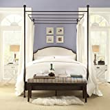 Andover Cream White Curved Top Cherry Brown Metal Canopy Poster Bed (Full)