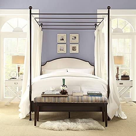 Andover Cream White Curved Top Cherry Brown Metal Canopy Poster Bed (Queen) & Amazon.com: Andover Cream White Curved Top Cherry Brown Metal ...