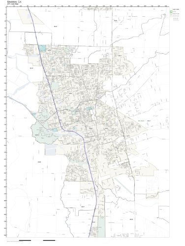 Amazon Com Zip Code Wall Map Of Stockton Ca Zip Code Map Not