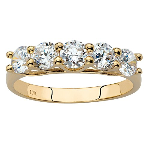 Solid 10k Yellow Gold Single Row Ring, Round Cubic Zirconia Size 7 (Gold Classic Yellow Single Ring)