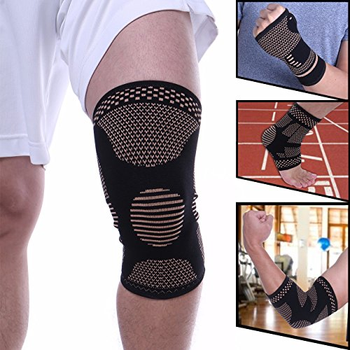 FITTOO Copper Knee Sleeve (1 Pair) Compression Fit Support - for Running, Jogging, Sports, Joint Pain Relief, Arthritis and Injury Recovery S