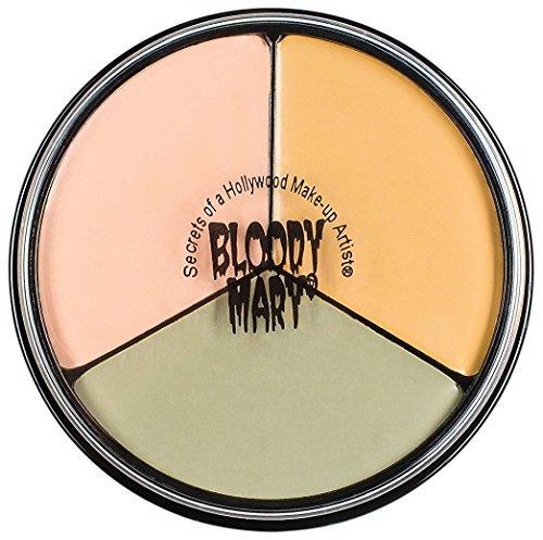 Tri Color Wheel Monster Makeup Cream - Death Pale, Flesh and Vampire Gray For Theater, Costume or Halloween Zombie and Monster Dress Up - 1.3oz. - By Bloody -