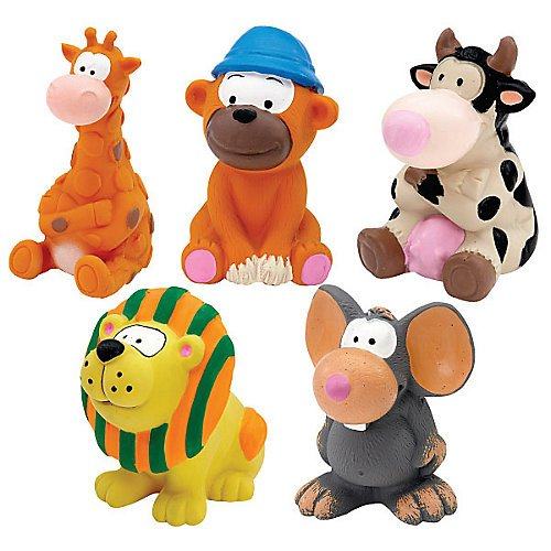 Zanies Medium Latex Animals Dog Toy 5pk (Latex Zanies)
