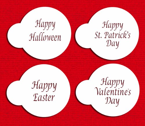 Designer Stencils C137 Celebration Cupcake and Cookie Stencils (Happy Halloween, Happy Easter, Happy Valentine's Day and Happy St Patrick's Day) ()