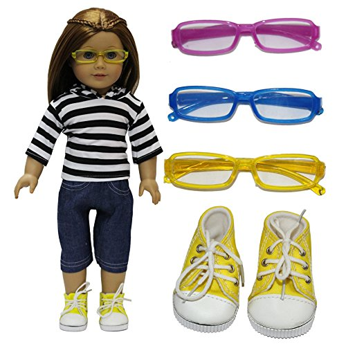 ZITA ELEMENT Doll Clothes -Lot#3= 1 Casual wear+1 Shoe+1 Sunglass Outfit Fits American Girl Doll and other 18 inch Dolls XMAS - Leading Sunglasses Brands