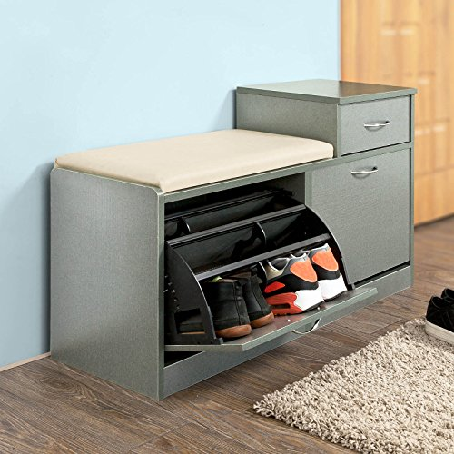 Cushioned Seating Storage Bench: Haotian Shoe Storage Bench With Padded Seat And Drawer