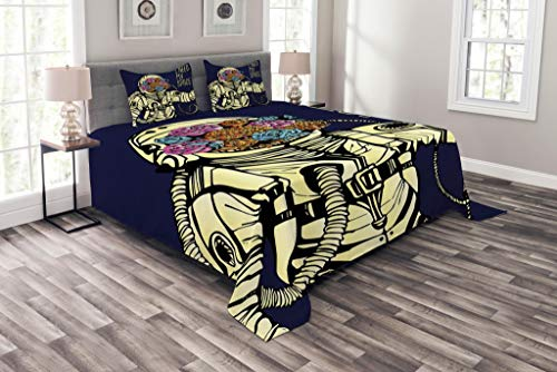 Lunarable Outer Space Bedspread Set Queen Size, Floral Cosmonaut Man in The Spacesuit Solar System Alien Comet Cartoon Image, Decorative Quilted 3 Piece Coverlet Set with 2 Pillow Shams, Yellow Blue by Lunarable